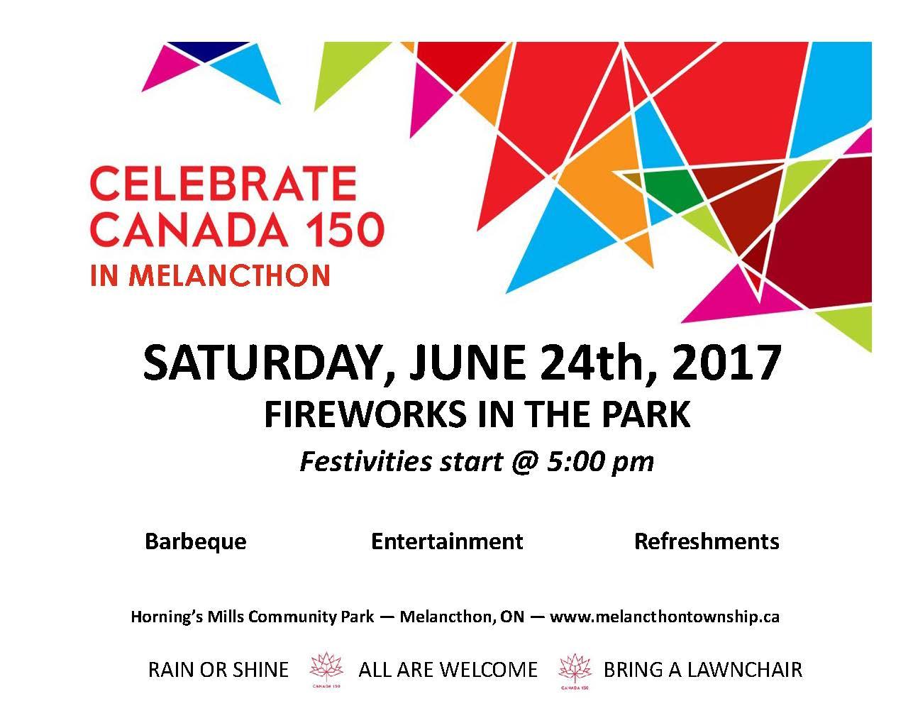 Hornings Mills Fireworks July 24, 2017